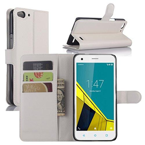 Vodafone Smart Ultra 6 Hülle, HualuBro [Standfunktion] [All Aro& Schutz] Premium PU Leder Wallet Tasche Schutzhülle Case Flip Cover mit Karten Slot für Vodafone Smart Ultra 6 Smartphone (Weiß)