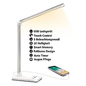 Schreibtischlampe LED Dimmbare Tischleuchte 5 Farb und 10 Helligkeitsstufen Augenfreundliche Nachttischlampe USB-Anschluss für Aufladung des Smartphones Leselicht ideal für Leser, Kinder, Büro