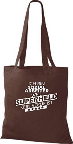 Stoffbeutel Ich bin Sozialarbeiter, weil Superheld kein Beruf ist Braun