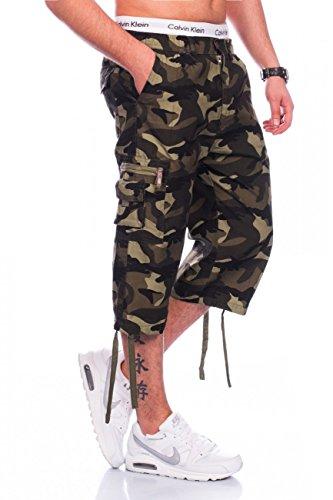 Max Men Herren Cargo Shorts Loose Fit · Wadenlange 3 4 Bermuda · Camouflage  Tarnmuster 4aaa7fa700