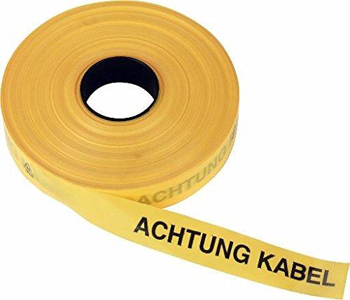 """Triuso Trassenband Warnband Trassenwarnband Einlegeband Grabenband Sicherheitsband Sicherungsband 40mm x 250m """"Achtung Kabel""""- gelb"""