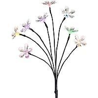 Lunartec LED-Solar-Zweig: Solar-LED-Lichterstrauch mit 8 Blüten und Erdspieß, multicolor, 50 cm (Deko-Lichter-Zweig)