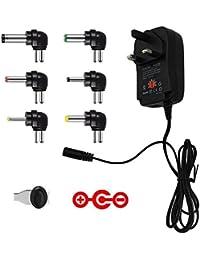 Negativo Versión IKOCO Universal 30 W 3 V-12 V Regulado (Reemplazo de Voltaje AC a DC Adaptador de Conmutación Adaptador de Alimentación con Puerto USB 5 V2 A y Seis Adaptador Enchufes