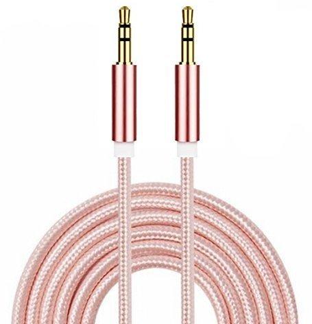 I-Sonite (Rose Gold Gold überzogenes Nylon Material Geflochtene 3.5mm Buchse an Buchse Anschluss Aux Aux-Audiokabel [2 Meter] Für ZTE Paragon