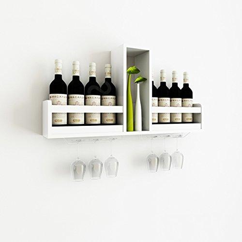 DD Scaffale di stoccaggio del MDF del Governo di vino fissato al muro del rack Scaffale di vino semplice in stile europeo per cremagliera del vino della famiglia del ristorante, 31.5 * 5.7 * 16.1 pollici ( Colore : Bianca )