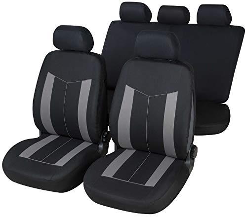 rmg-distribuzione Coprisedili per Yaris Versione (1999-2006 (P1)) compatibili con sedili con airbag, bracciolo Laterale, sedili Posteriori sdoppiabili Colore Nero Grigio R18S0891