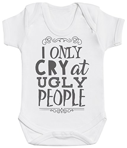 AA I Only Cry At Ugly People Short Sleeve Baby Bodysuit - Baby Onesie 100% Cotton