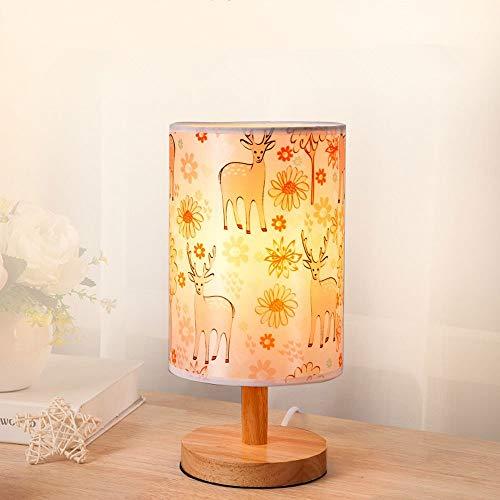 XXIONG Nordic Minimalistischen Holzlampe Schreibtischlampe Warm Illustration Lampenschirm Kinder Nachttischlampe Tischlampe Fütterung Lampe Nachtlicht, hohe 28cm φ14cm E27 (Nicht enthalten) (A) - 28 Cm Hoch Tischlampe