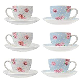 Tea Cup & Saucer Set of 6 Party Tableware Porcelain Plate Coffee Afternoon Tea