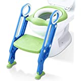 MUMMAMIA Cushioned Potty Training Toilet Seat with Broad, Adjustable Step Stool Ladder and Easy Grip Handles (Foldaway Storage) - (Blue-Green)