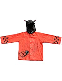 Children's Red Ladybird Design Waterproof Raincoat with Elasticated Hood.