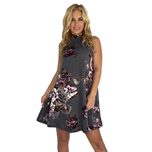 mile Sexy Sommer Frauen Ärmelloses Bodycon Damen Abend Party Kleid Sexy Club Bleistift Kleid Sommer Blumendruck Natürliches Knie Länge Kleid (S, Grau) (M&s Kostüm Schmuck)