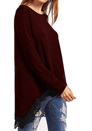 Cnfio Damen Langarmshirt Bluse Oberteile Tunika Asymmetrisch Loose Oversize Tops Rot