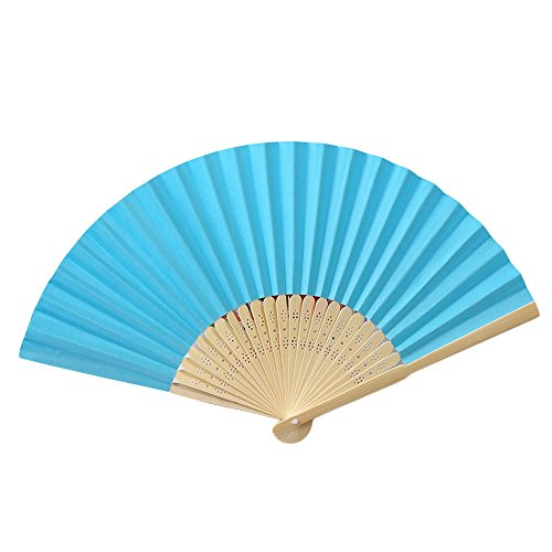uge,Muster Falttanz Hochzeit Party Lace Silk Folding Hand Solid Color Fan (Blau) ()