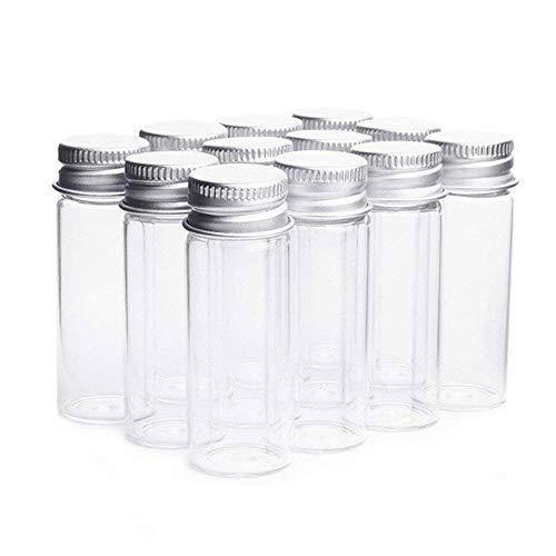 Danmu Art Vials Botella de cristal transparente con tapa de tornillo de aluminio, botes de muestra vacíos y fuertes, contenedores pequeños para botellas, muestras de boda o decoración de bodas, 14ml