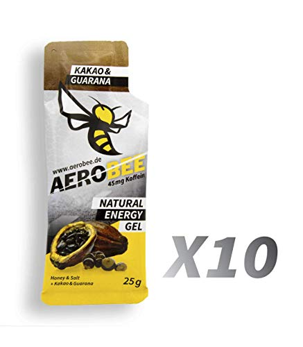 10 Pack AEROBEE Energy Gel | Kakao & Guarana | Natürliches Energie Gel für Ausdauersport | Schnelle und dauerhafte Energie | Sehr bekömmlich | 10 Gels x 25g -