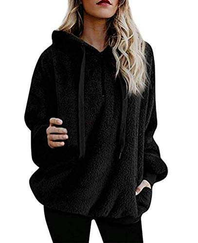 Yidarton Pullover Damen Hoodie Winter Lose Warm Kapuzenpullover Teddy-Fleece Langarm Oversize Sweatshirt mit Kapuze (Schwarz, X-Large)