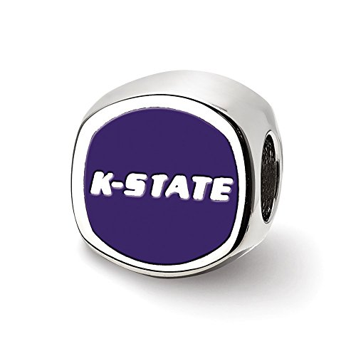 logoart Sterling Silber Kansas State University Kissen Form Logo Bead ss501ksu Kansas Form