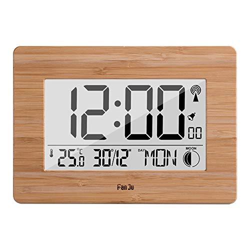 Hokaime Digitaler Wecker 12/24-Stunden-Format Temperatur Datumsanzeige Temperatur und Luftfeuchtigkeit Wanduhr Wettervorhersage Multifunktions-Wellenuhr