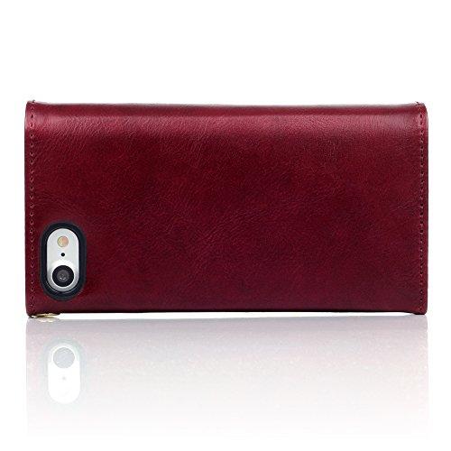 Coque Cuir iPhone 8 / iPhone 7, Terrapin Étui Housse Portefeuille avec Polka Dot Intérieur pour iPhone 8 Case - Bleu Marine Rouge