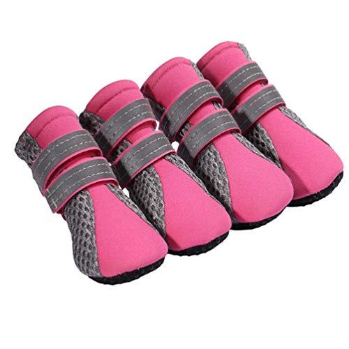 Kuncg La Pata Protege Botas para Perro Respirable De Protección Y Doble Correa Reflectante Rayas Botas De Perro Suave Fluorescencia Rosa L