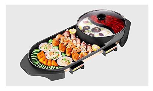 Koreanische Art-Backpfanne, rauchfreier elektrischer Grill, Antihaft-heiße Topf-Geräte, Multifunktionsbraten ein Topf ( Design : Double Flavor Pot , Größe : Large )