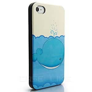 CaseiLike ® Blue Whale, Snap-on duro indietro cover per Apple iPhone 4 4S 4G 4GS con Screen Protector
