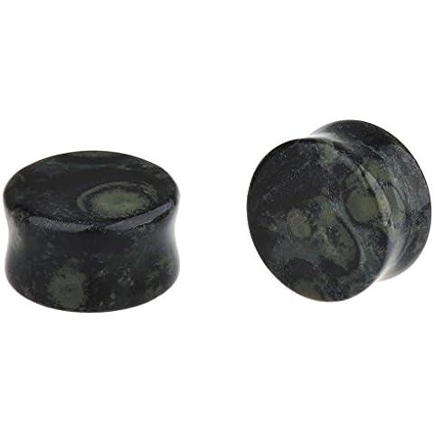 IPINK pietra naturale, tappi per le orecchie, dim. g-16 singola mm, 2 coppie