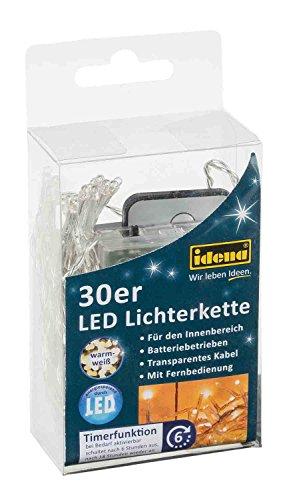 Idena 31602 - LED Lichterkette mit 30 LED in warm weiß, mit 6 Stunden Timer Funktion und Fernbedienung, Batterie betrieben, für Partys, Weihnachten, Deko, Hochzeit, als Stimmungslicht, ca. 1,75 m -