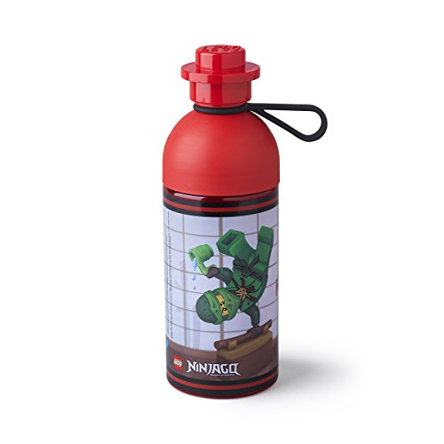 LEGO Trinkflasche Ninjago, Wasserflasche, 500ml, (leicht zu befüllen mit Eis), rot (Lego Flasche)