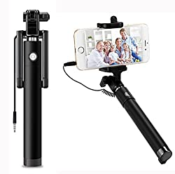 AUX MART Ultra Portable Wired Selfie Stick - Compatible with HTC Desire 828 Dual SIM� No Battery Charging Premium & Sturdy Design Best Pocket Sized Cable Monopod