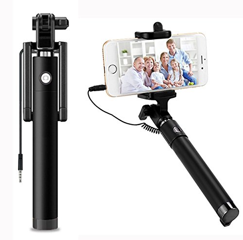AUX MART Ultra Portable Wired Selfie Stick - Compatible with Lava Arc No Battery Charging Premium & Sturdy Design Best Pocket Sized Cable Monopod  available at amazon for Rs.289