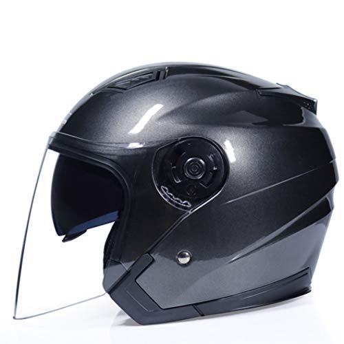 OLEEKA Casco moto Casco bici elettrica Open Face Dual Lens Visiere Uomo Donna Estate Scooter Moto Moto Caschi da bici