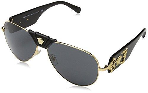 Versace Herren 0VE2150Q 100287 62 Sonnenbrille, Gold/Gray
