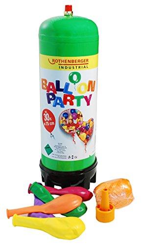 Preisvergleich Produktbild Rothenberger Industrial Ballon Party Set inkl. 2l Heliumeinwegflasche, Sicherheitsventil, 25 Latexballons, 1 Eiknäuel Geschenkband