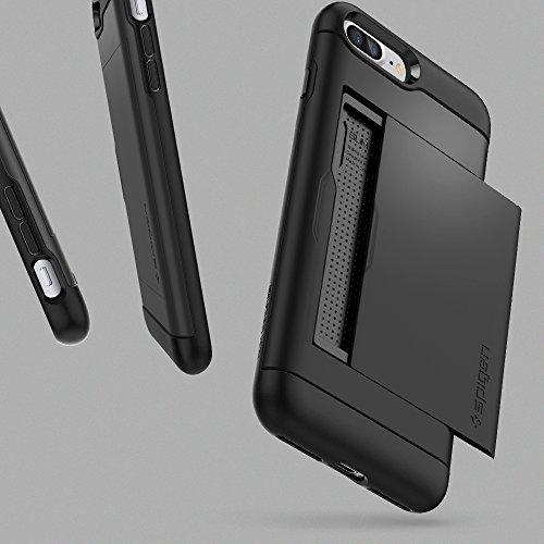 iPhone 8 PLUS / 7 PLUS Hülle, Spigen® [Slim Armor CS] iPhone 8 PLUS Hülle, Kartenfach [Gunmetal] Doppelte Schutzschicht mit Luftpolster-Kantenschutz - Card Holder Case Schutzhülle für Apple iPhone 7 P SACS Schwarz