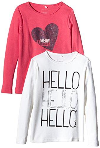 NAME IT Mädchen Langarmshirt Nit2 - p Veen K Ls Top 8 515, 2er Pack, mit Print, Gr. 122 (Herstellergröße: 122-128), Mehrfarbig (Cloud Dancer)