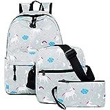 Fancyku Unicorn Backpack Set, Teens Backpack For School Boys Girls Waterproof Nylon School Bookbag Set Travel Daypack Lunch Bag Or Cross Body Bag( Light Grey)