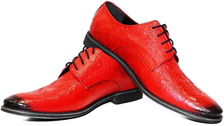 Modello Vermilio   Handgemachtes Italienisch Leder Herren Rot Oxfords Abendschuhe Schnürhalbschuhe   Rindsleder