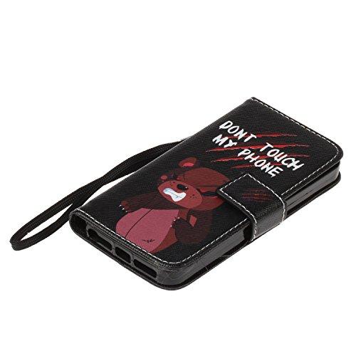 Custodia iPhone 5S, iPhone SE Flip Case Leather, SainCat Custodia in Pelle Flip Cover per iPhone 5/5S/SE, Anti-Scratch Book Style Protettiva Caso PU Leather Flip Portafoglio Custodia Libro Protettiva  Arrabbiato Dellorso
