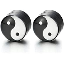 8MM Magnética Negro Círculo Yin Yang, Click-on Fake Piercing, Enchufe falso,
