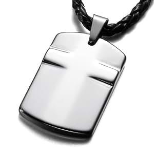 MunkiMix Tungsten Pendant Necklace Silver Dog Tag Cross Vintage Adjustable Chain Men ,Chain