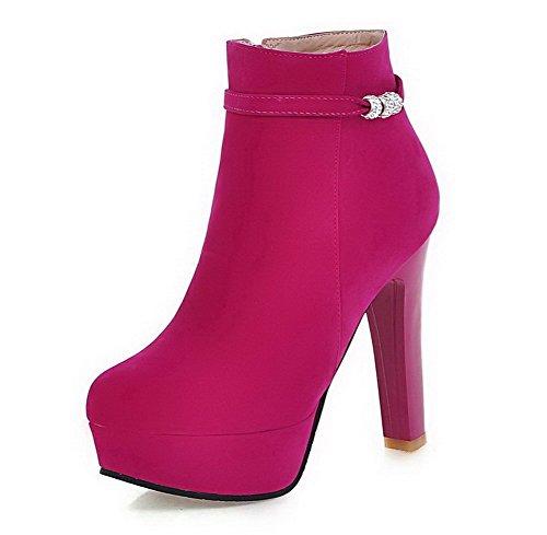 AllhqFashion Damen Hoher Absatz Niedrig-Spitze Eingelegt Reißverschluss Stiefel, Pink, 36