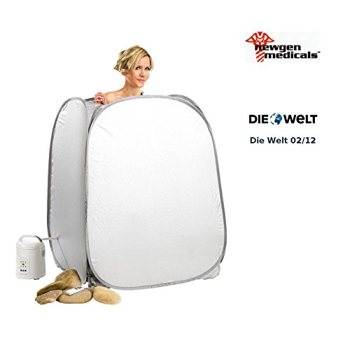 newgen medicals Einmannsauna: 2in1-Heim-Dampfbad und Sauna, portabel, mit 850-Watt-Generator, Timer (Dampfsauna)
