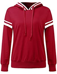 CNFIO Damen Langarmshirt Sweatshirt Hoodie Langarm Kapuzenpullover Rundhals  Pullover Streifen Bluse Sport Tops Kapuzenjacke 7d14e37358