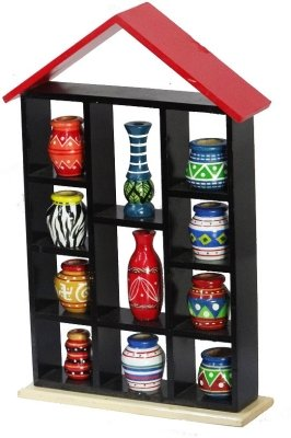 Kalaplanet Handpainted 11 Pots With Wooden Hut Frame Wall Hanging-Wall Décor / Gifts