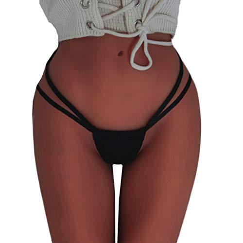 Elecenty Sexy Lingerie da Donna Reggiseno da Donna Senza Cuciture con Mutandine Slip Intimo Lingerie con Cinturino Perizoma (Size:M, Nero 2)