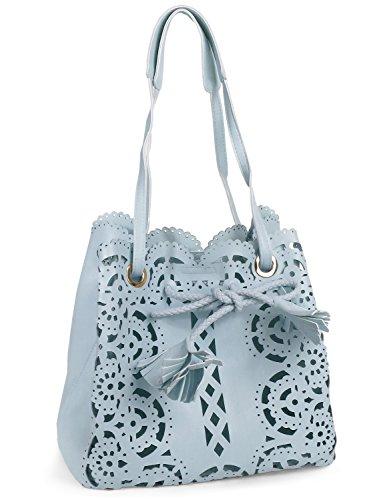 Damen Handtasche Umhängetasche Ethno Muster Taubenblau