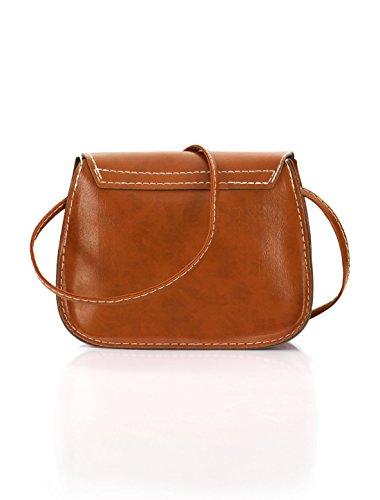 sourcingmap® Bandoulière amovible femme Snap-Magnétique sac bandoulière PU Fermeture brown
