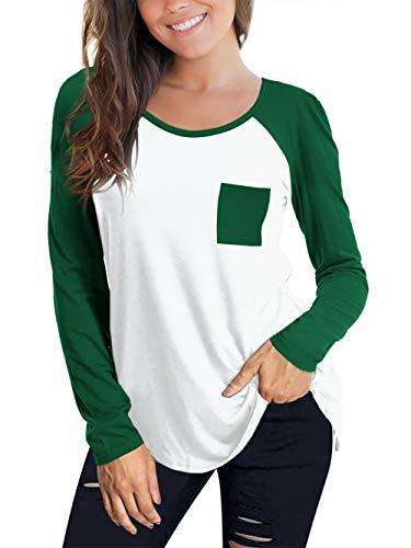 Beluring Damen Bluse Langarm Baseball Shirt Color Block Casual Tunika Tops (XXL/DE 50-52, A-Dunkelgrün) - Casual-blöcke